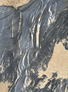 sand and stone colours, Penbryn beach